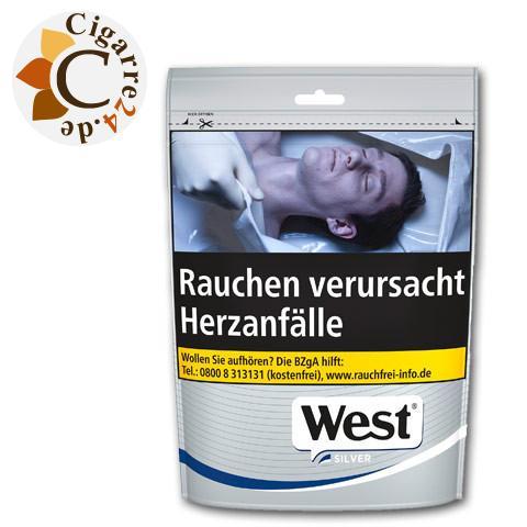 West Silver Volume Tobacco Zip-Beutel, 105g