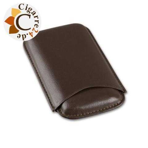 Zigarren-Etui Leder in dunkelbraun für Corona-Format - 150x80mm, 3er