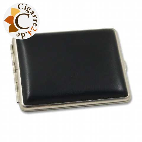 Zigarillo-Etui Metall mit Kunstleder-Cover in schwarz - 95mm lang, 10er