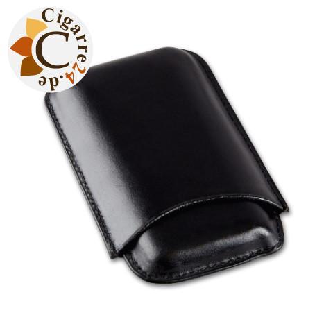 Zigarren-Etui Leder in schwarz für Corona-Format - 150x80mm, 3er