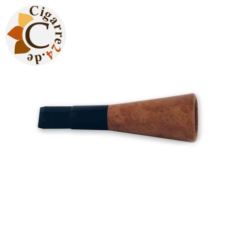 Zigarren-Spitze denicotea für 20mm Zigarren - Schwarz mit Bruyère-Sattel, 7,6cm