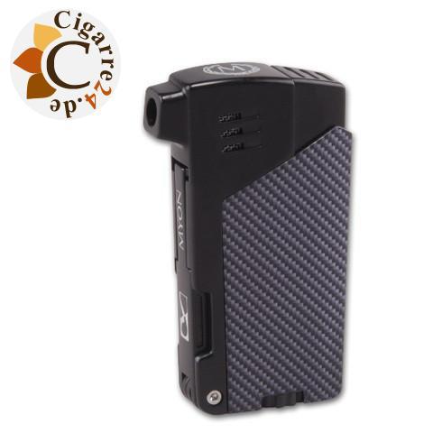 Myon Pfeifenfeuerzeug schwarz-carbon mit Pfeifenbesteck