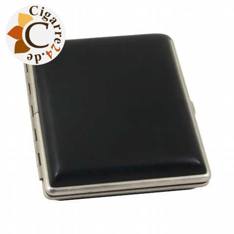 Zigarren-Etui Metall mit Kunstleder-Cover in schwarz - 110mm lang, 10er