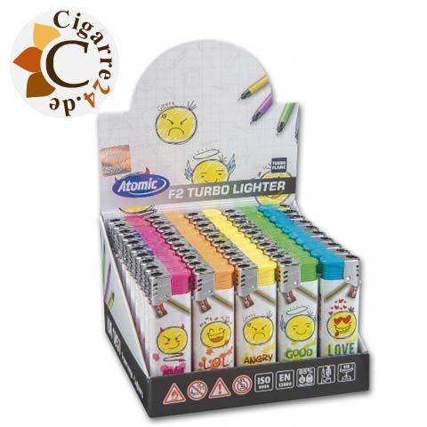 Einwegfeuerzeug Atomic F2 Emojis