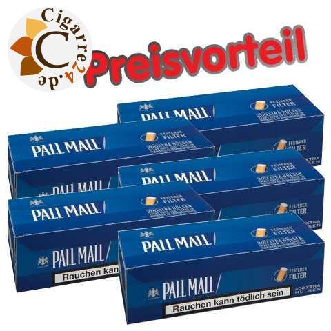 5 x Pall Mall Blue Xtra Hülsen, 200er