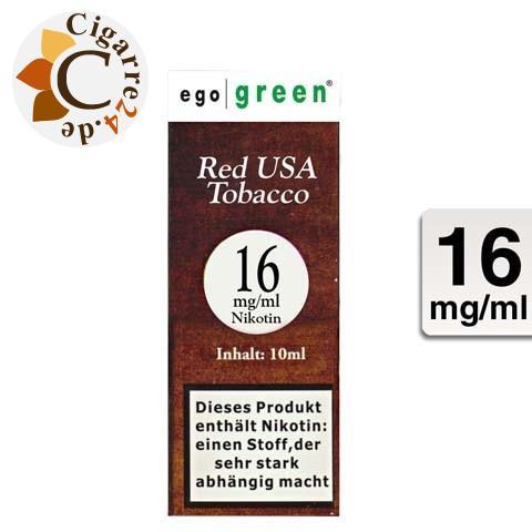 Ego Green E-Liquid Red USA Tobacco 16mg Nikotin