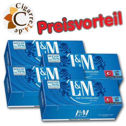 4 x L&M Extra Filterhülsen Blue Label, 250er