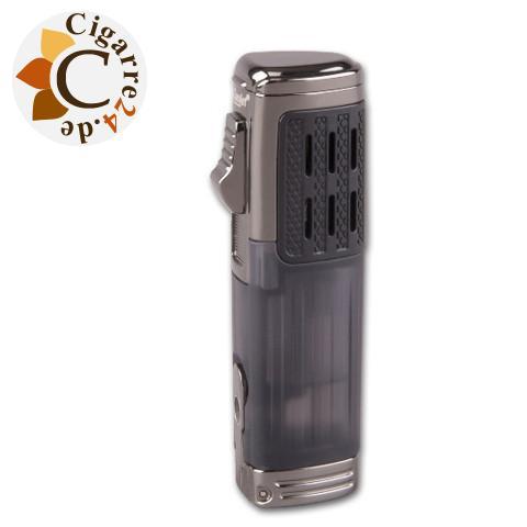 Eurojet Zigarrenfeuerzeug gun-schwarz mit Cutter