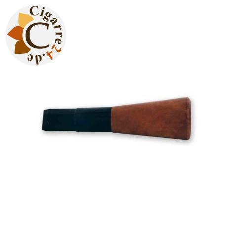 Zigarren-Spitze denicotea für 16mm Zigarren - Schwarz mit Bruyère-Sattel, 7,6cm