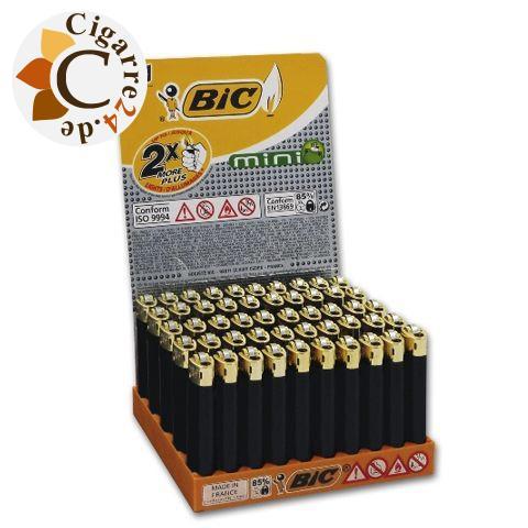 Einwegfeuerzeug Bic Mini schwarz mit Goldkappe