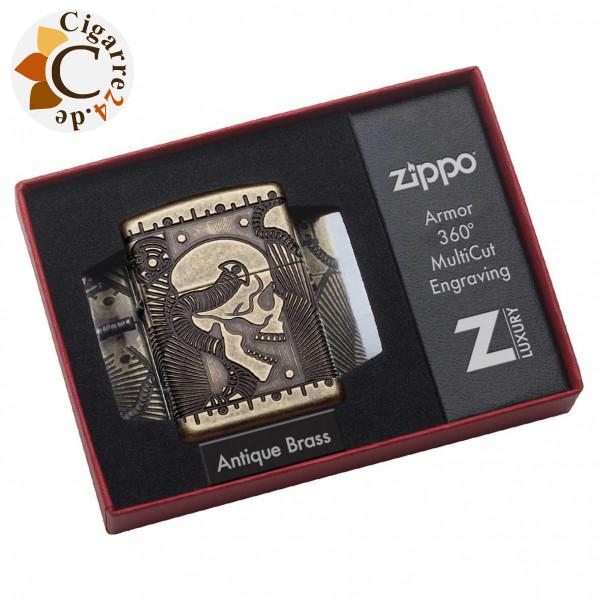 Zippo Kupfer Antik Armor Skull Multi Cut