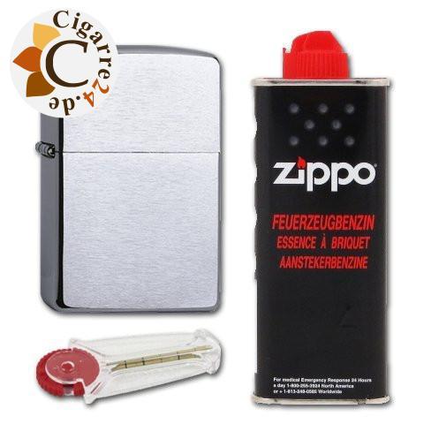 Zippo Set Chrom gebürstet + Benzin und Feuerzeugsteine