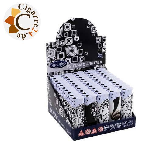 Einwegfeuerzeug Atomic F2 Black & White